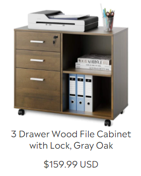 3 Drawer Wood File Cabinet with Lock, Gray Oak