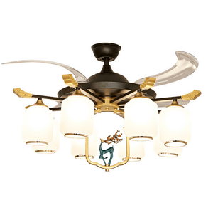Ceiling fan with Light Kit, 42inches, Black & Gold - Devaise