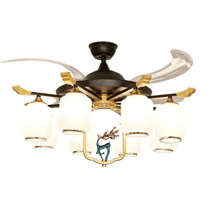 Ceiling fan with Light Kit, 42inches, Black & Gold