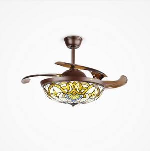 Ceiling fan with Light Kit, 42inches, Brown & Gold - Devaise