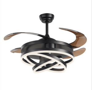 Ceiling Fan with LED Light, 42inches, Black - Devaise