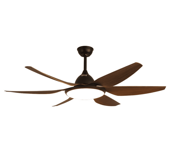 Ceiling Fan with LED Light and Remote Kit, 54inches, Brown - Devaise