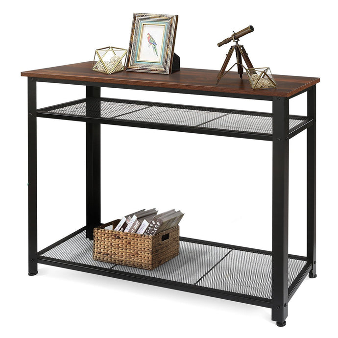Industrial Console Table, Rustic O9 Oak - Devaise