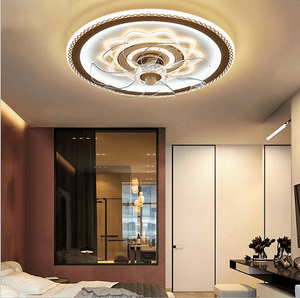 Ceiling Fan with LED Light, 42inches, Gold & White - Devaise