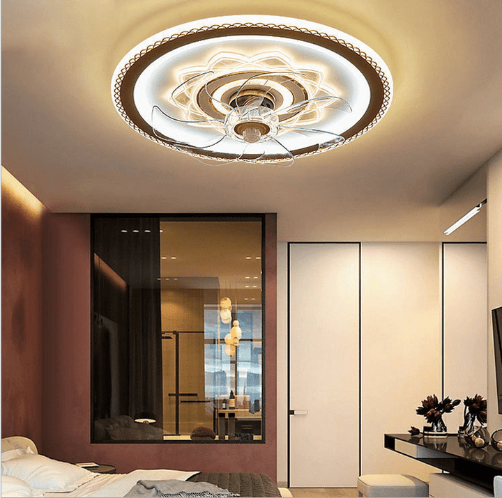 Ceiling Fan with LED Light, 42inches, Gold & White