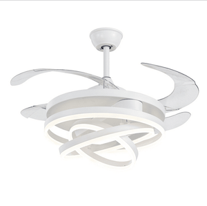 Ceiling Fan with LED Light, 42inches, White - Devaise