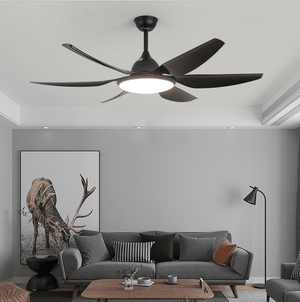 Ceiling Fan with LED Light and Remote Kit, 54inches, Black - Devaise
