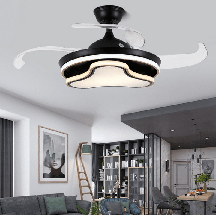 Ceiling fan with Light Kit, 42inches, Black - Devaise