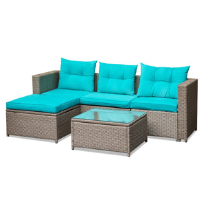 5 Pieces Patio Furniture Set, Grey & Turquoise