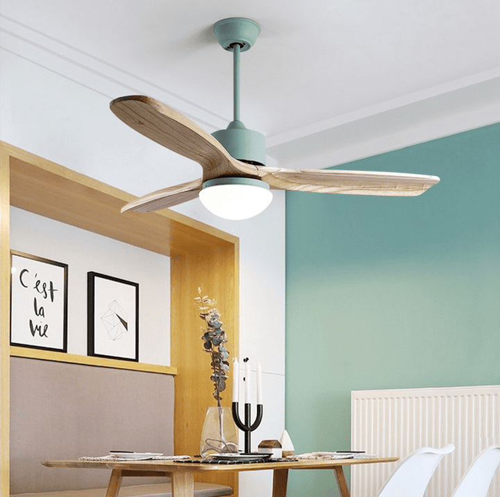 Ceiling Fan with LED Light and Remote Kit, 42inches, Green - Devaise