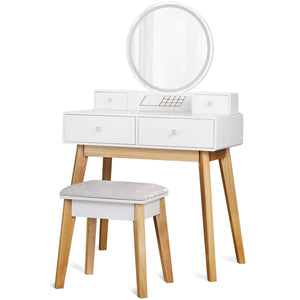 Makeup Vanity Table Set with Round Mirror, White - Devaise