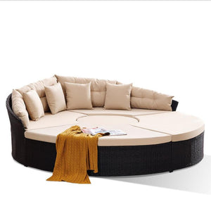 Patio Furniture Outdoor Daybed, Wicker Furniture Sectional Seating with Washable Cushions for Patio Backyard Porch Pool