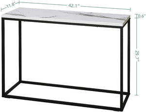 Console Table with White Marble Pattern, White