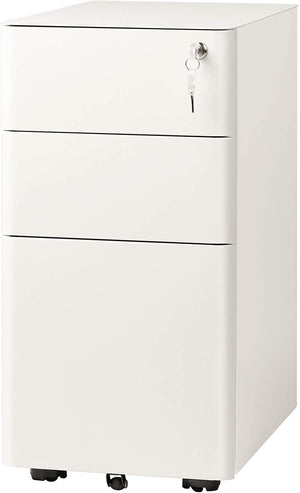 3 Drawer Slim Mobile File Cabinet, White