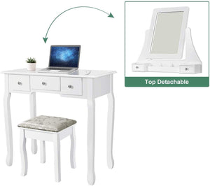 Makeup Vanity Table Set with 5 Drawers, White