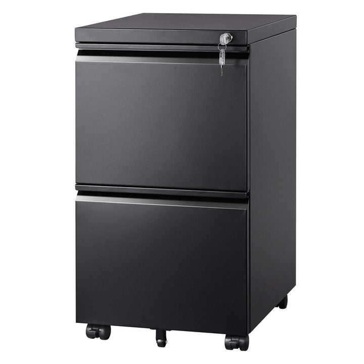 2 Drawer Mobile File Cabinet with Lock, Black - Devaise