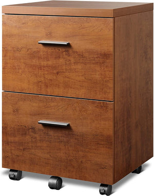 2 Drawer Wood Filing Cabinet, Walnut