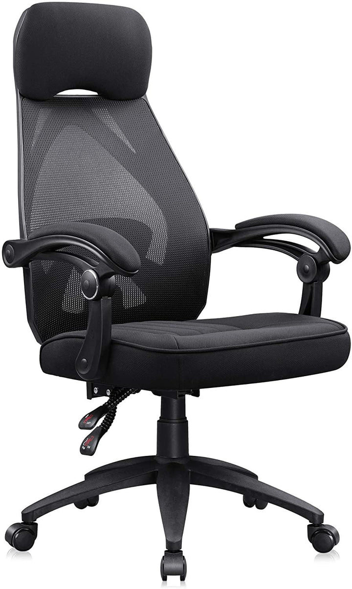 Recliner Office Chair with Adjustable Lumbar Support, Black