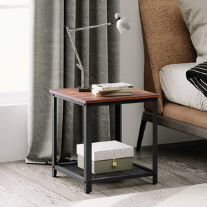 Industrial Square End Table, Rustic O9 Oak