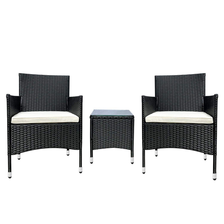 3 Pieces Patio Furniture Set, Beige & Black - Devaise