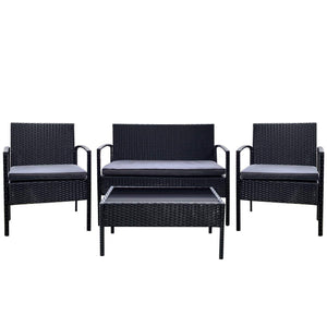 4 Pieces Patio Furniture Set, Grey & Black - Devaise
