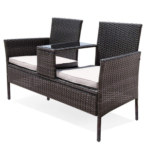 Wicker Patio Furniture Set, Brown & Beige - Devaise