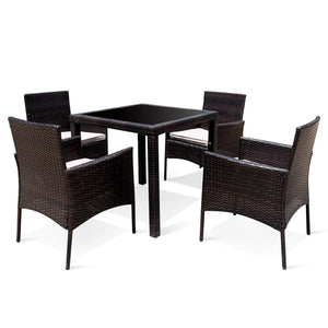 5 Pieces Outdoor Dining Set, Brown & Beige - Devaise