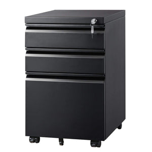 3 Drawer Mobile File Cabinet Under Desk, Black - Devaise
