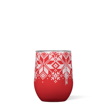 Corkcicle Stemless Fairisle Red