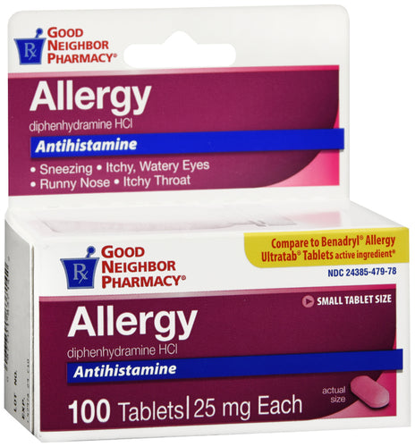 Good Neighbor Pharmacy Diphenhydramine 25mg (Generic Benadryl) 100ct