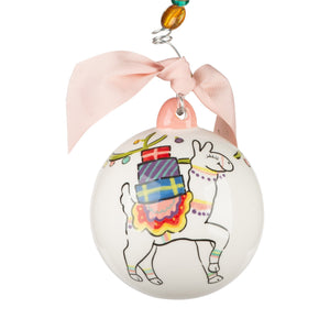 Christmas Lights Llama Ball Ornament
