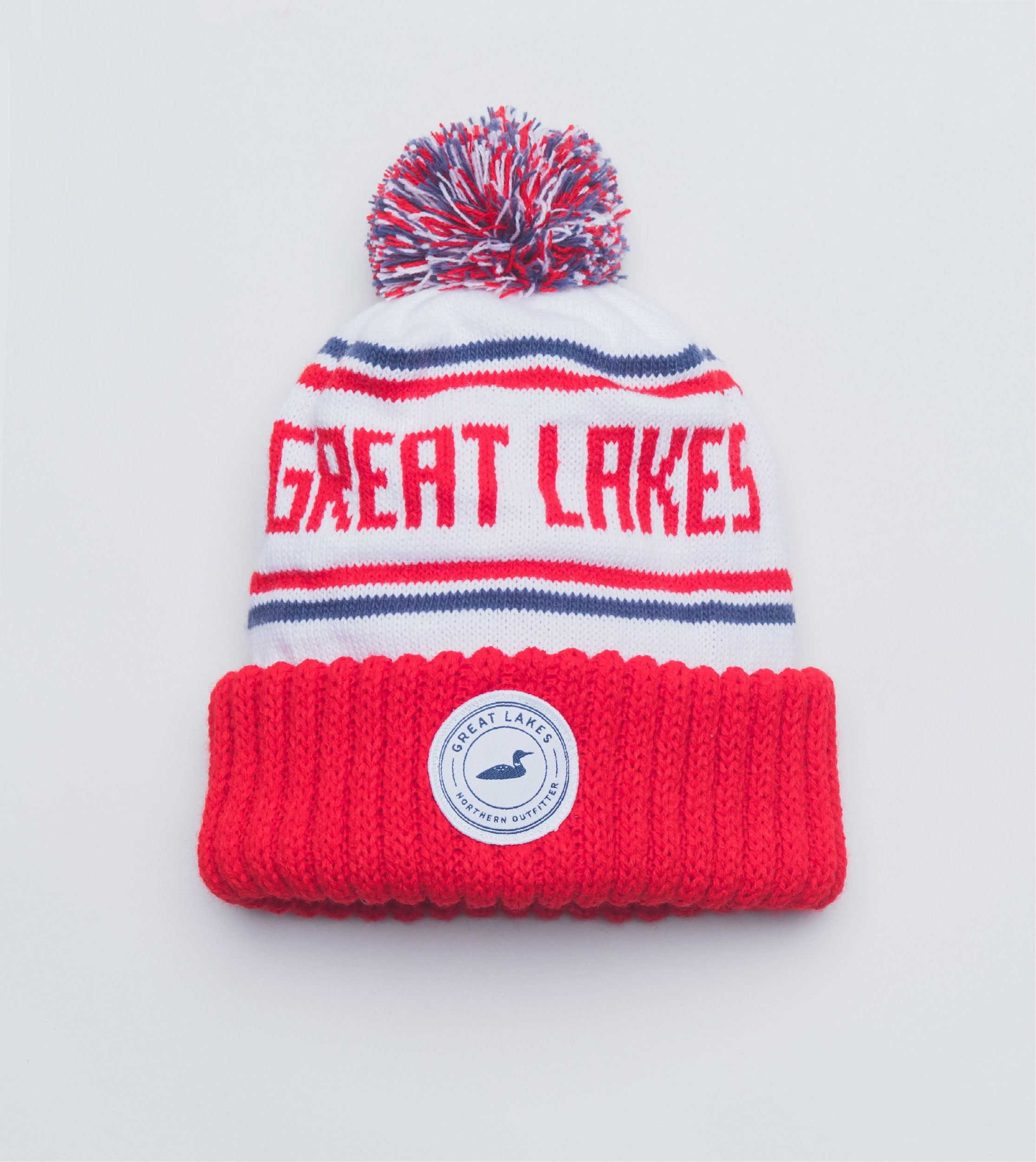 Winter Knit Hat - Red and White  a3d54aa7919