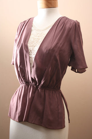 Cafe Au Lace Blouse in Chocolate