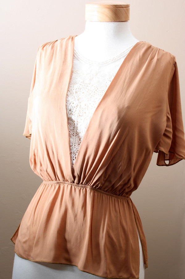Cafe Au Lace Blouse in Caramel