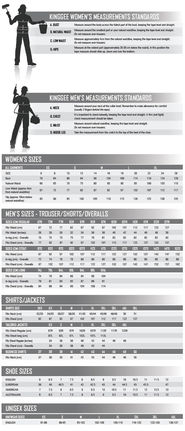 Size Chart KING GEE – Your Workwear