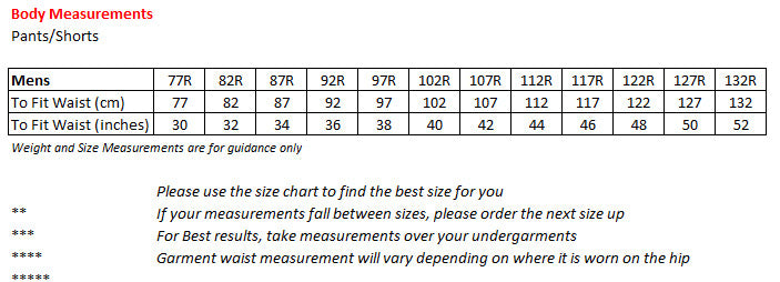 Size Chart STUBBIES – Your Workwear