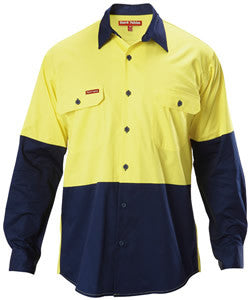 Hard Yakka HiVis Cotton Twill Ventilated Long Sleeve Shirt