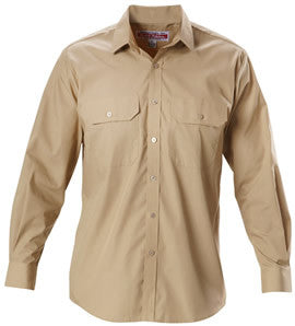Hard Yakka Putty Permanent Press Cotton Long Sleeve Shirt