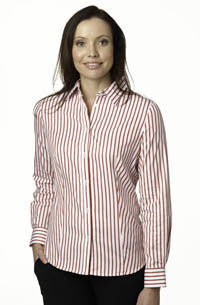 Ladies Gloweave Red Stripe Cotton Long Sleeve Shirt