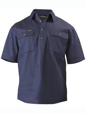 Bisley Mens Closed Front Cotton Drill Short Sleeve Shirt