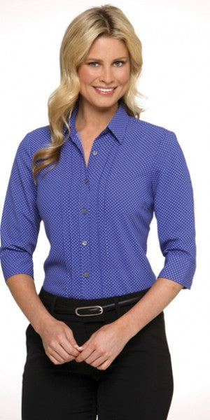 City Collection Stretch Spot 3qtr Sleeve Shirt