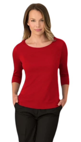 City Collection Smart Knit 3qrt Sleeve Top