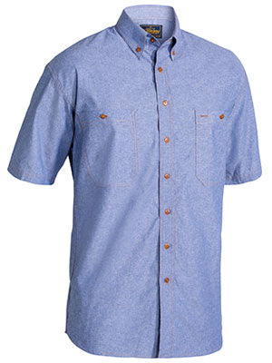 Bisley Mens Chambray Short Sleeve Shirt