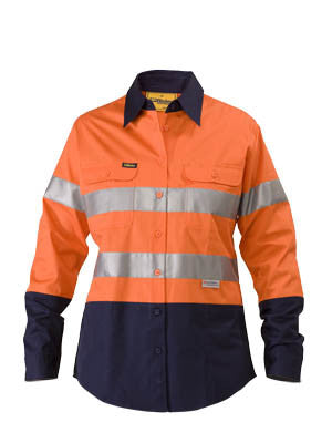 Bisley Ladies Lightweight Taped HiVis Drill Long Sleeve Shirt