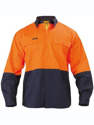 Bisley Mens Discontinued HiVis Lightweight Two Tone Drill L/s Shirt