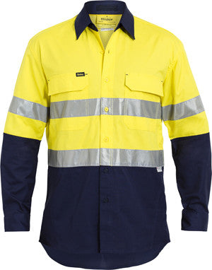 Bisley Mens 3M Taped Two Tone HiVis X AIRFLOW Ripstop Long Sleeve Shirt