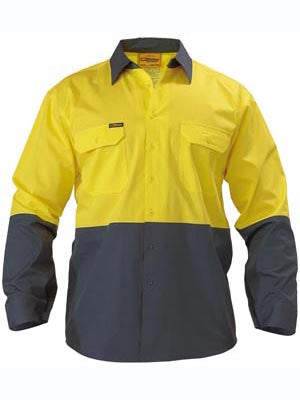 Bisley Mens HiVis Cool Lightweight Two Tone Drill Long Sleeve Shirt
