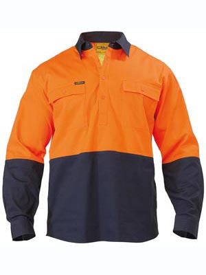 Bisley Mens HiVis Closed Front Two Tone Drill Long Sleeve Shirt
