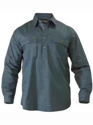 Bisley Mens Closed Front Cotton Drill Long Sleeve  Shirt - BOTTLE