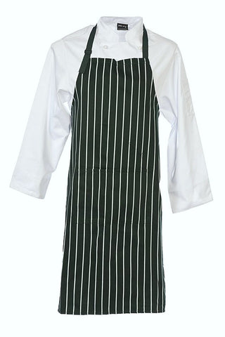Bottle Green Bib Striped Apron with Pocket